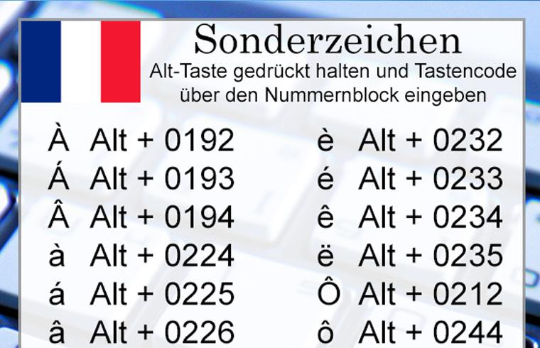 franzoesische Sonderzeichen